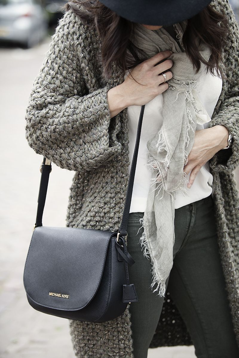 streetstyle pre fall 2015 BlogForShops Sabrina is wearing a handknitted cardigan by Kiro by Kim, Michael Kors handbag. Shop the look instore at De Nobelaer in Domburg