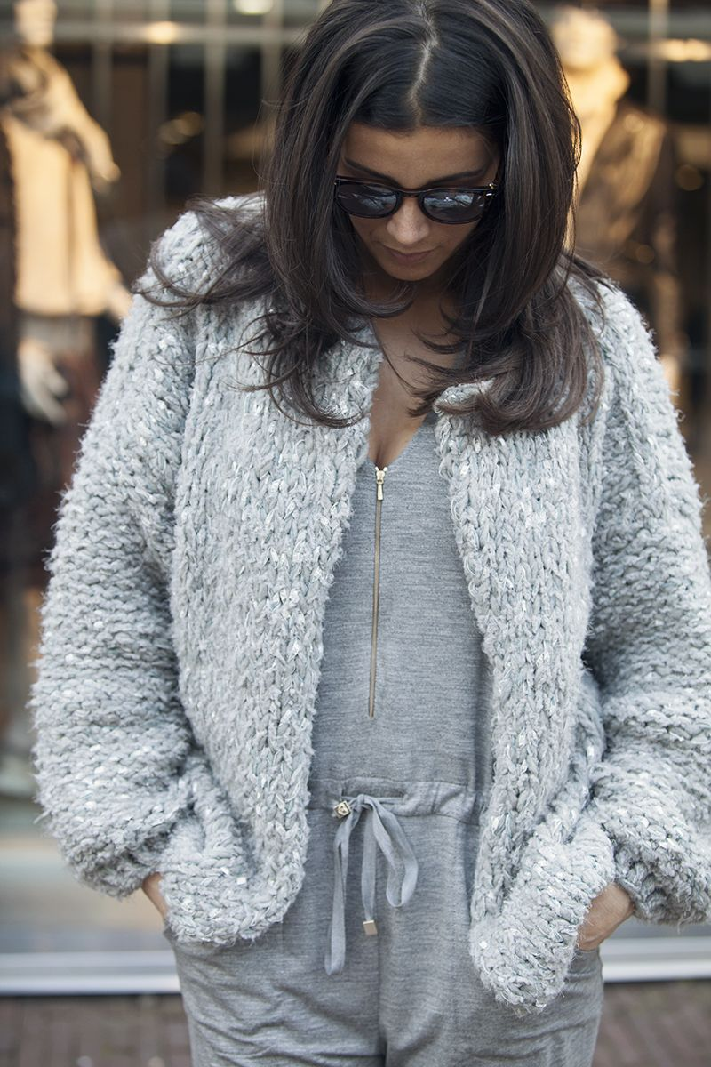 street photography grey handknitted chunky cardigan Kiro by Kim BlogForShops