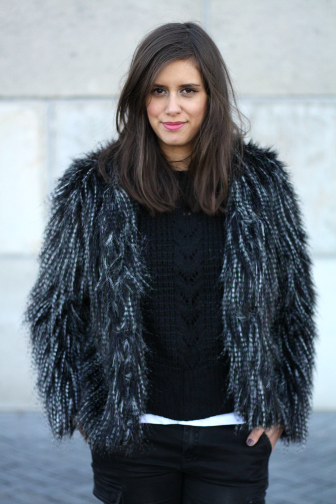 Outfit faux fur hairy coatblack cable knit sweater