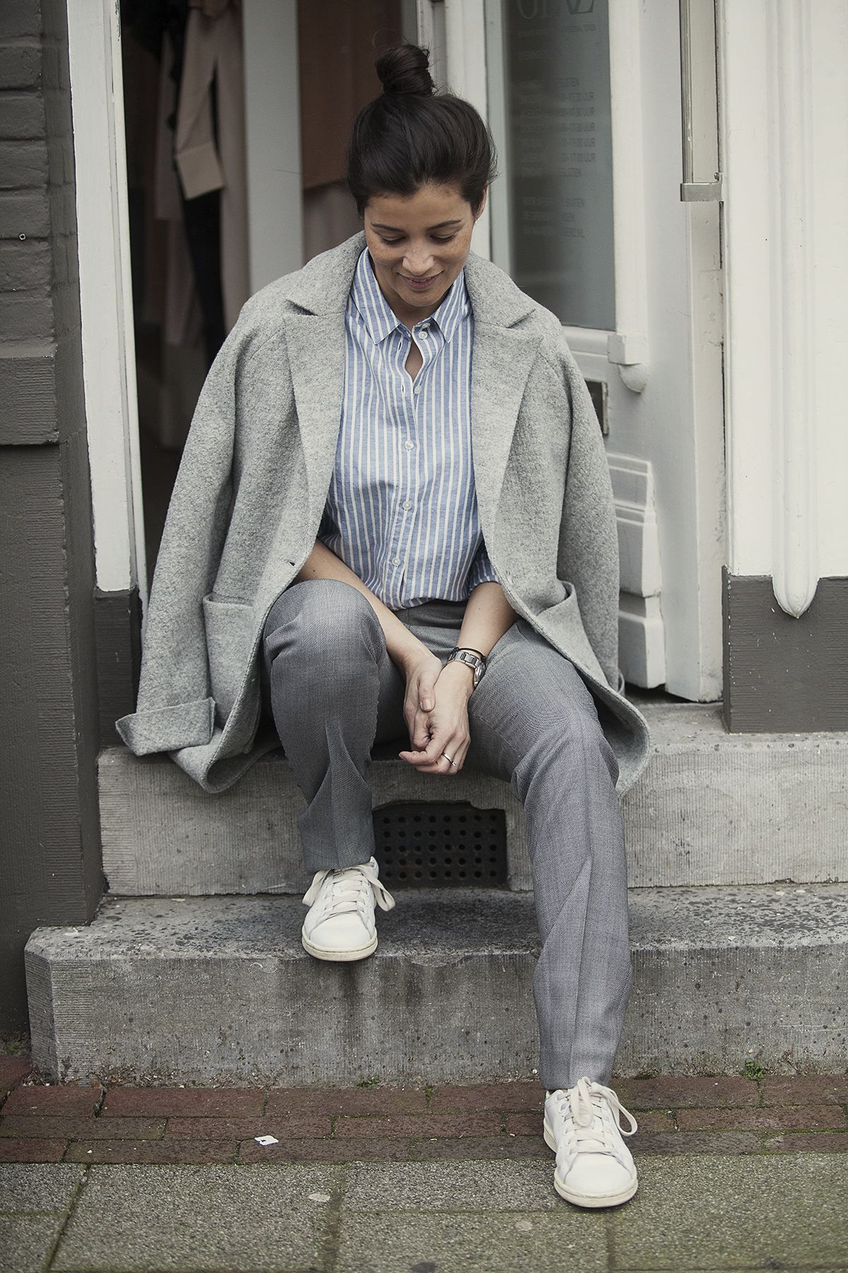 streetstyle spring 2016, oversized look coat shirt and suit pants