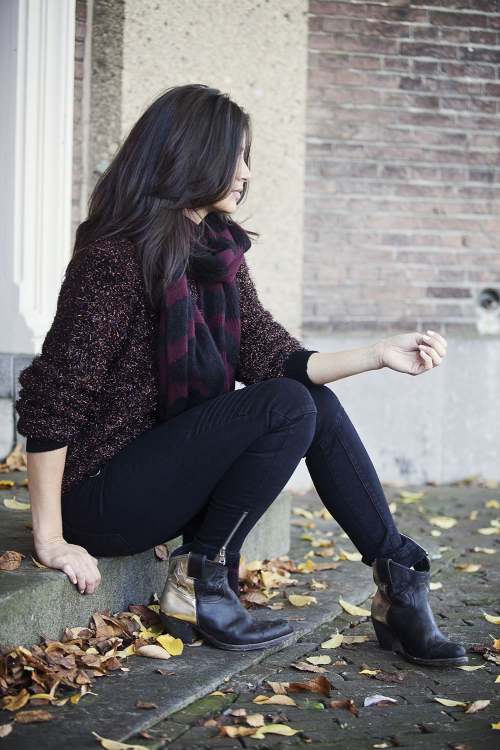 Streetstyle fall 2014 lurex knit JBrand black denim Gloden Goose