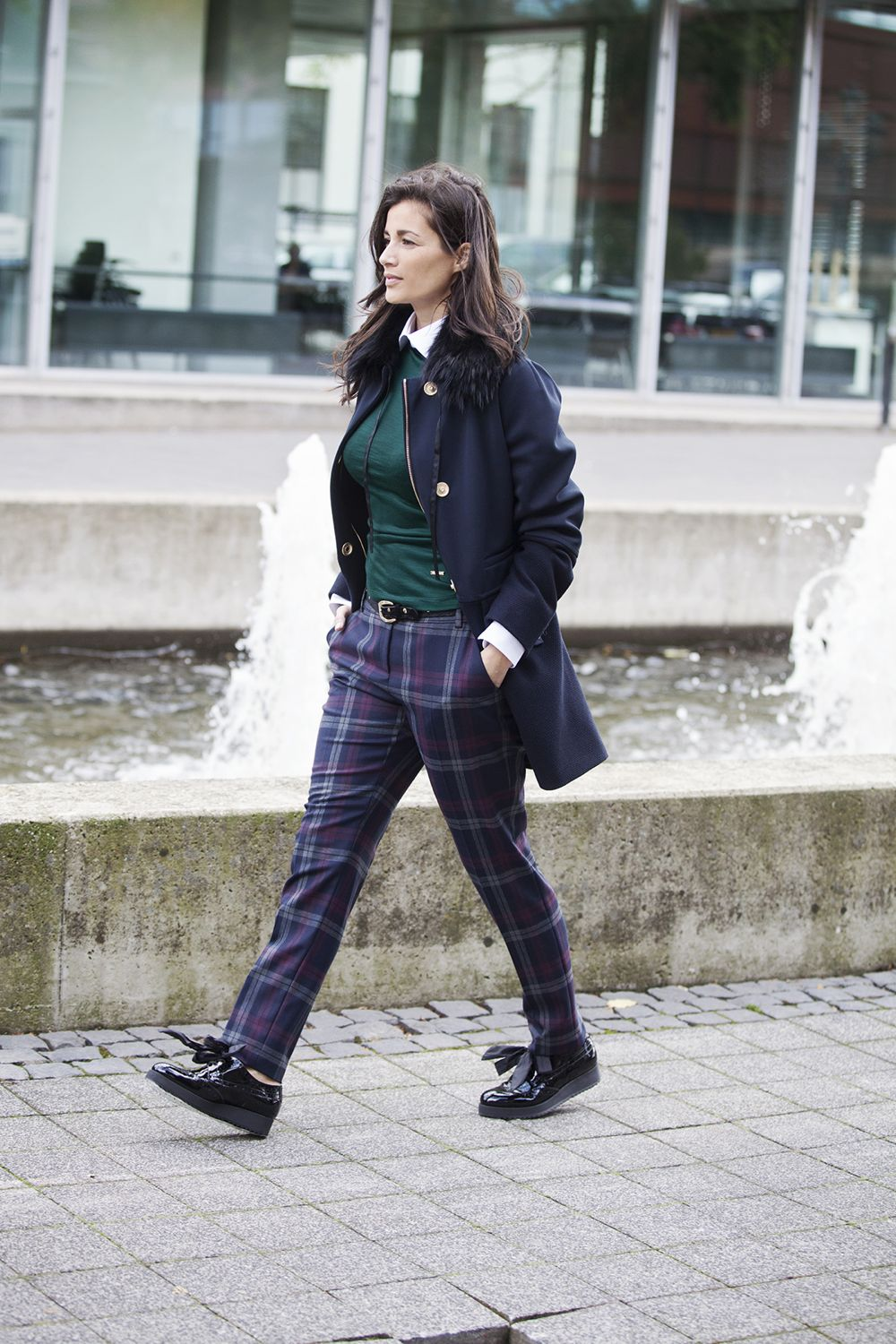 streetfashion fall 2014 plaid trousers brogues BlogForShops