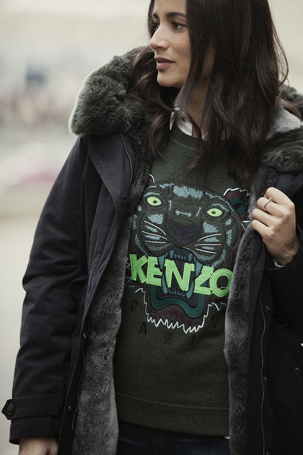 Streetstyle 2015 new fall wintercollection Kenzo sweater, Woolrich coat BlogForShops styling for Jimmy's Mode in Tilburg