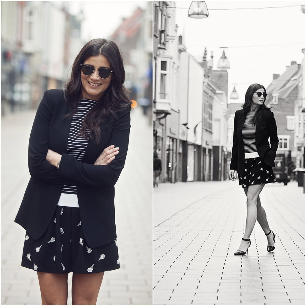 streetstyle look 2015 striped top, mixed prints black BlogForShops for Jimmy's Mode Tilburg