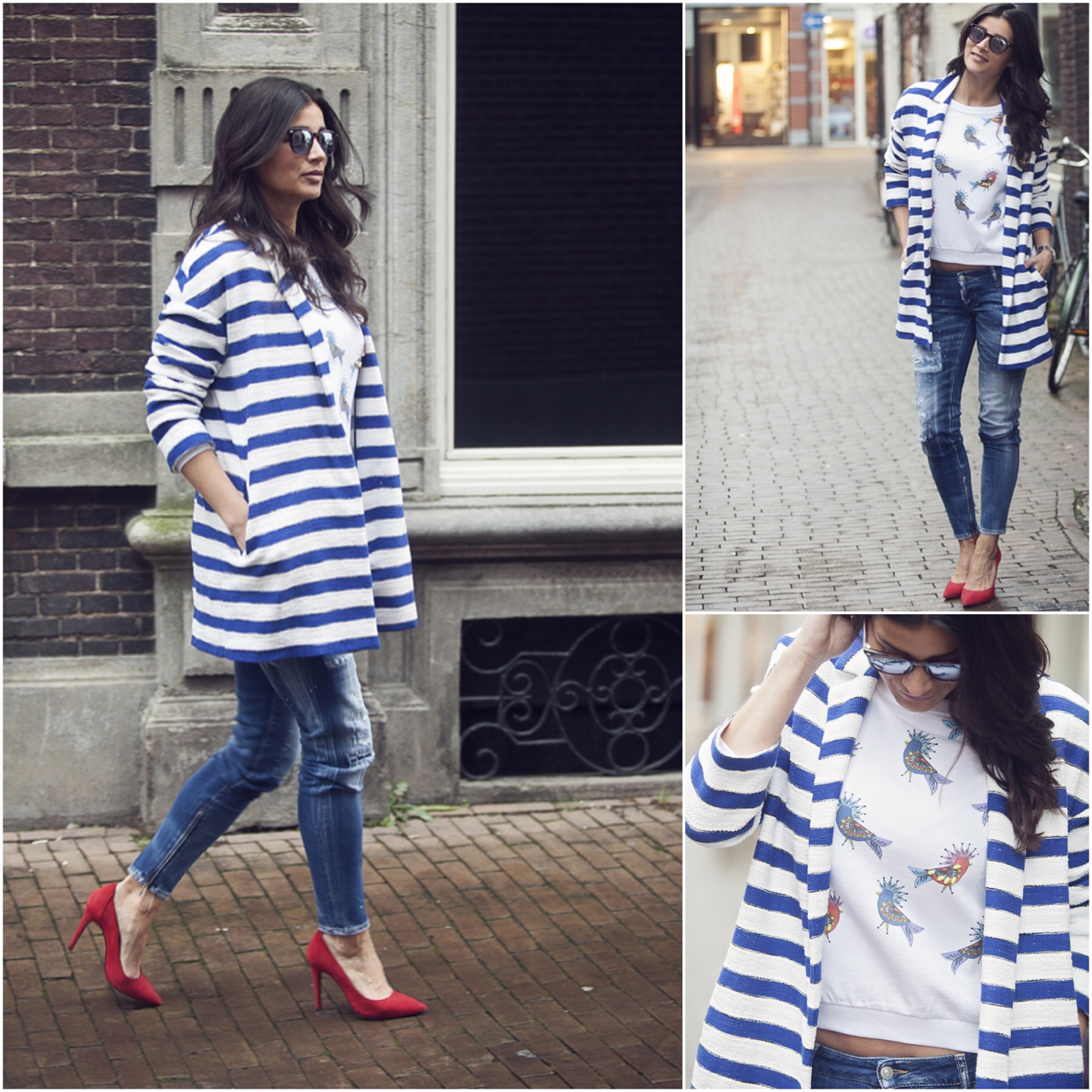 streetstyle photography BlogForShops for Jimmy's Mode in Tilburg wearing striped blazer Pinko DSquared jeans