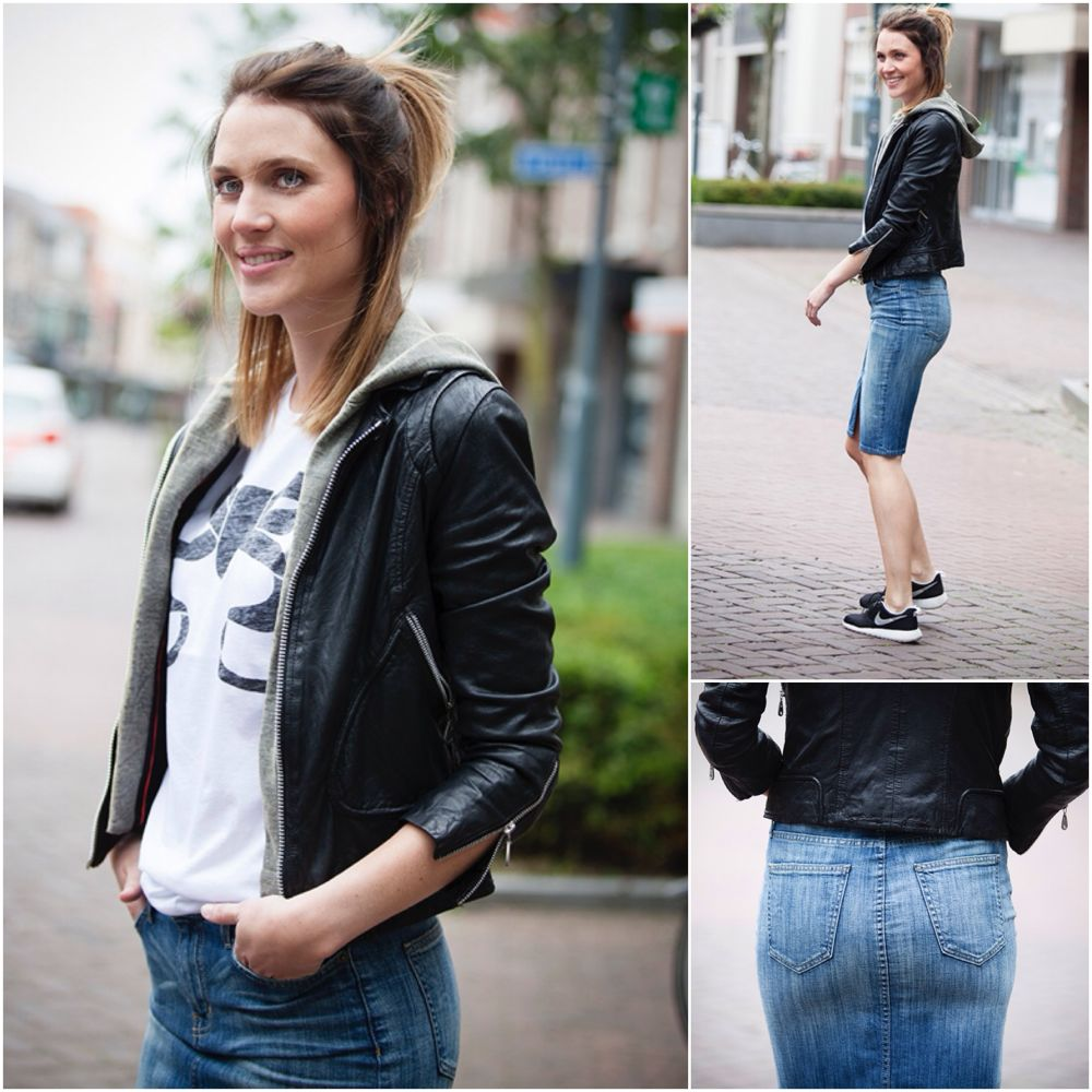 Stylefeed: Back in style denim skirts streetstyle look 2015 denim pencil skirt Styling BlogForShops for Chica Chico in Veghel