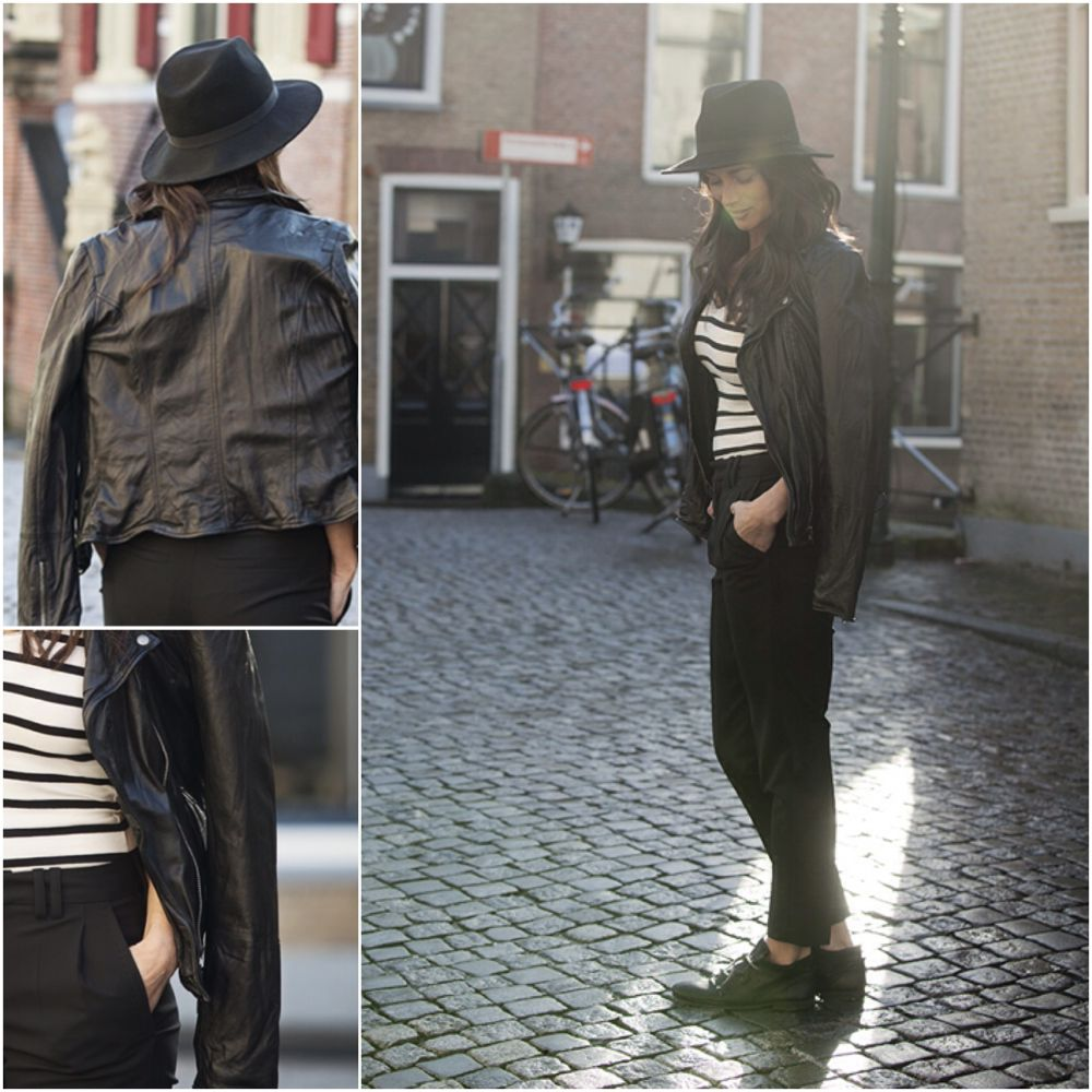 streetstyle look leather bikerjacket striped top suit pants BlogForShops' Sabrina for Pardoes Oudewater