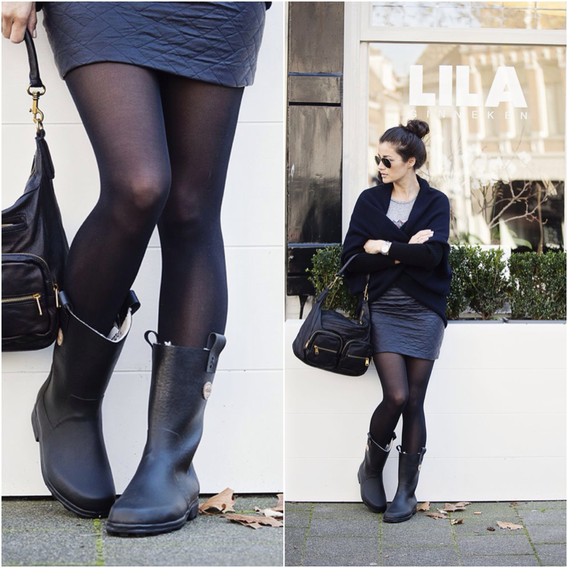 Streetstyle look fall 2014 wellies with skirt BlogForShops for Lila Breda