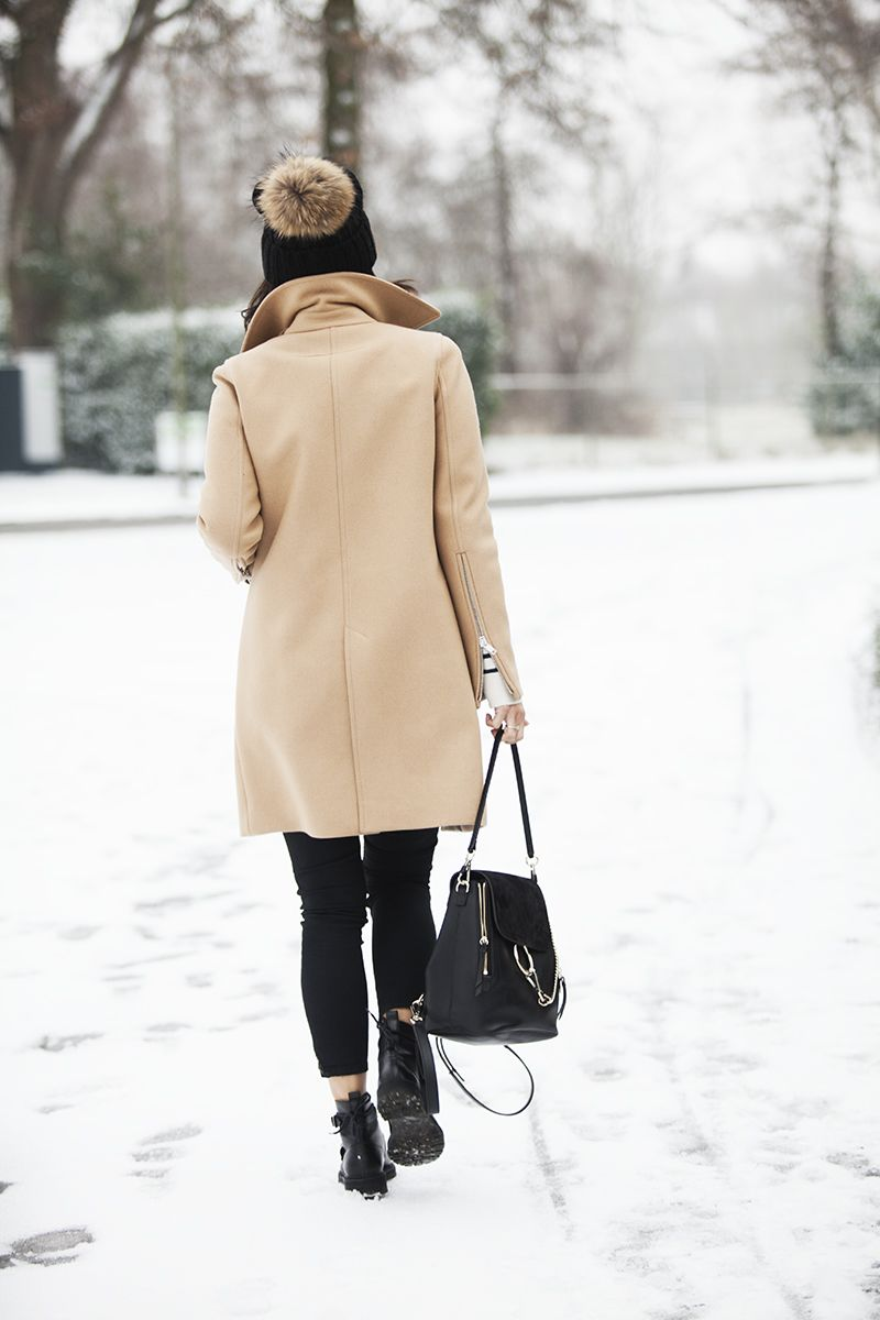 BlogForShops winter look 2017 wearing Givenchy coat, Chloe Faye backpack, Saint Laurent boots