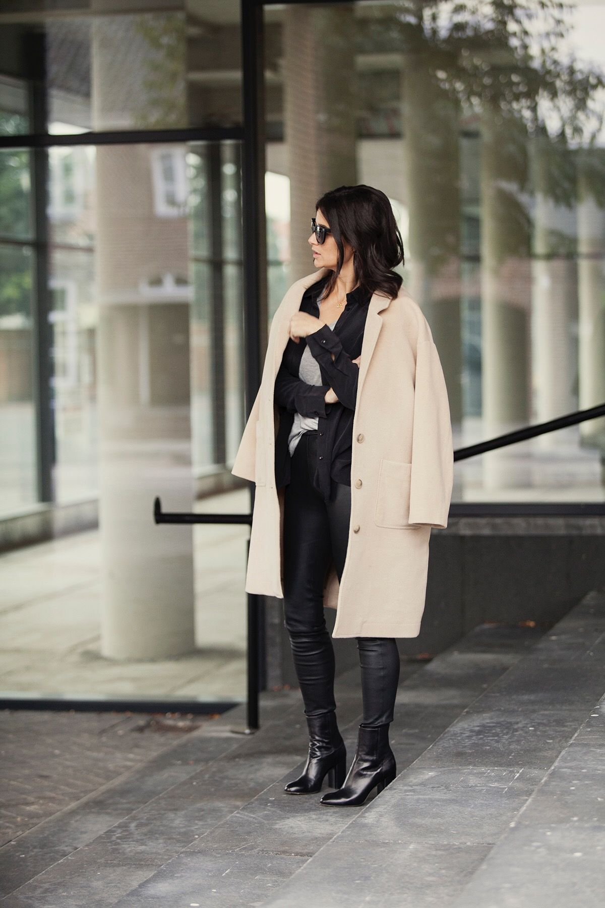 fall look 2016 blogforshops for perfectlybasics wearing joseph t-shirt, anine bing silk top, malene birger leather legging, rag&bone block heels, aberdeen coat Closed